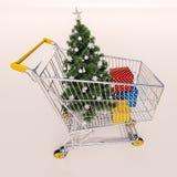 Магазинная тележкаа вполне приобретений в пакетах и дереве Christamas бесплатная иллюстрация