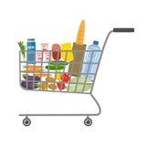 Магазинная тележкаа в супермаркете вполне еды и пить Стоковое Изображение