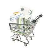 Магазинная тележкаа заполненная с датскими счетами стоковое изображение