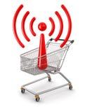 Магазинная тележкаа и WiFi (включенный путь клиппирования) Бесплатная Иллюстрация