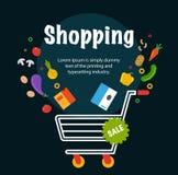 Магазинная тележкаа супермаркета с едой Плоская иллюстрация на белой предпосылке Стоковые Изображения RF