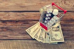 Магазинная тележкаа с пилюльками, шприц, свечи, доллары Стоковое Изображение