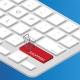 Магазинная тележкаа для ходить по магазинам онлайн Стоковые Фото