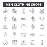 Магазины одежды людей выравнивают значки, знаки, набор вектора, линейную концепцию, иллюстрацию плана бесплатная иллюстрация