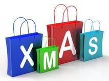 Магазины розничной торговли или покупать выставки хозяйственных сумок Xmas бесплатная иллюстрация