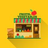 Магазин вектора фруктов и овощей Стоковое Изображение