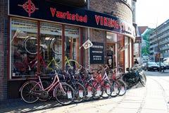 Магазин велосипеда в Копенгагене Стоковое Изображение