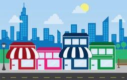магазин горизонта фронтов зданий Стоковая Фотография RF