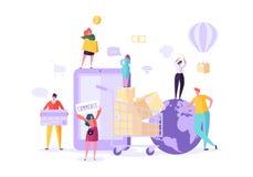 Магазин женщины онлайн используя смартфон Электронная коммерция, защита интересов потребителя, розница, концепция продажи Чернь п иллюстрация вектора