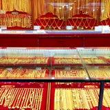 Магазин золота, предпосылка магазина украшений золота Стоковая Фотография