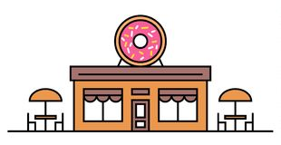 Магазин или кафе Donuts с 2 таблицами Покрашенная иллюстрация вектора плоская Конструкция Шильдик с большим вкусным донутом с пол иллюстрация штока