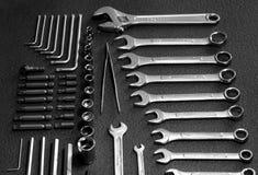 Магазин инструментов Комплект ключей и гаечных ключей разнообразия Стоковое фото RF