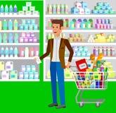 Магазин, иллюстрации вектора супермаркета плоские Стоковая Фотография RF