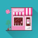 Магазин конфеты в розовом цвете Плоский дизайн вектора Стоковое фото RF