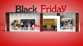 Магазин моды пятницы концепции черный уценивает 3d представляет на красном ба бесплатная иллюстрация