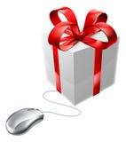 Магазин мыши подарка онлайн присутствующий Стоковые Фотографии RF