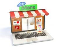Магазин на дисплее компьтер-книжки Стоковое Фото