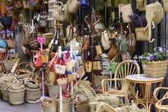 Магазин ремесленника плетеный в историческом центре Валенсии Стоковое Изображение