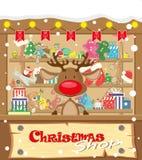 Магазин рождества знамени вектора с оленями и подарками, игрушками, куклами, присутствующей коробкой и гирляндами лампы с флагами иллюстрация вектора
