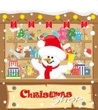 Магазин рождества знамени вектора с снеговиком и подарками, игрушками, куклами, присутствующей коробкой и гирляндами лампы с флаг иллюстрация штока