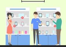 Магазин телефона с консультантом бесплатная иллюстрация