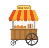 Магазин улицы хот-дога, тележка значок плоский, стиль шаржа Концепция фаст-фуда изолированная на белой предпосылке также вектор и Стоковые Изображения