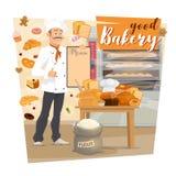 магазин хлебопекарни Меню удерживания хлебопека еды печенья иллюстрация штока