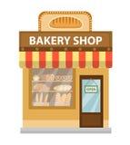 магазин хлебопекарни Значок здания магазина выпечки Стиль хлеба плоский Магазины витрин на улице также вектор иллюстрации притяжк иллюстрация вектора