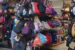 Магазин для продажи сумок студента Стоковые Фото