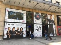 Магазин PSG официальный на Les Champs-Elysees Париже Франции стоковое фото