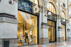Магазин Versace на Duomo аркады Vittorio Emanuele II галереи в центре милана, Италии Стоковые Изображения