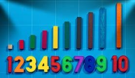 Магнитные номера и деревянные красочные части Стоковое Изображение