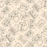 Магнитофонная кассета картина безшовная Стоковая Фотография RF
