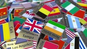 Магнит или значок сувенира с текстом и национальным флагом Брюсселя среди различных одних Путешествовать к Бельгии схематической сток-видео