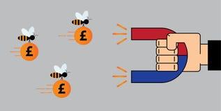 Магнит пользы руки бизнесмена для того чтобы привлечь деньги - фунт бесплатная иллюстрация