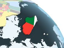 Мадагаскар с флагом на глобусе иллюстрация штока
