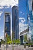 МАДРИД, ИСПАНИЯ - 22-ое июля 2014: Город Мадрида, бизнес-центр, современные небоскребы Стоковое Фото