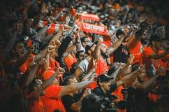 Мадрид, Испания - 1-ОЕ МАЯ 2019: Вентиляторы и зрители Ливерпуля празднуют их выигрывать лиги чемпионов UEFA 2019 на Ванда стоковые фото