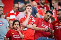 Мадрид, Испания - 1-ОЕ МАЯ 2019: Вентиляторы Ливерпуля в стойках поддерживают команду во время финального матча 2019 лиги чемпион стоковые изображения