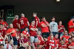 Мадрид, Испания - 1-ОЕ МАЯ 2019: Вентиляторы Ливерпуля в стойках поддерживают команду во время финального матча 2019 лиги чемпион стоковые фото