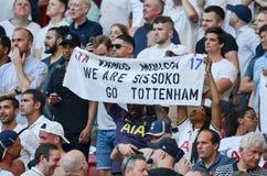 Мадрид, Испания - 1-ОЕ МАЯ 2019: Вентиляторы Tottenham в стойках поддерживают команду во время финального матча 2019 лиги чемпион стоковое изображение