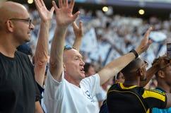 Мадрид, Испания - 1-ОЕ МАЯ 2019: Вентиляторы Tottenham в стойках поддерживают команду во время финального матча 2019 лиги чемпион стоковые изображения