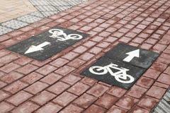 Майна велосипеда, дорожная разметка с стрелками Стоковое Изображение