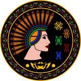 Майяская женщина и иероглифы иллюстрация вектора
