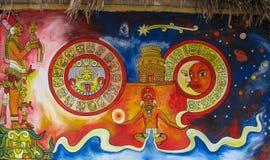 Майяская настенная роспись Стоковые Фотографии RF