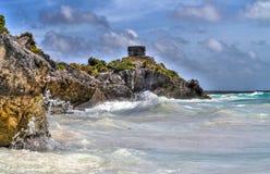 : Майяская руина на Tulum, Мексике Стоковое фото RF