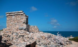 Майяская святыня/алтар/висок на Isla Mujeres Мексике стоковое фото