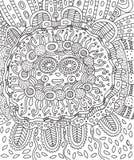 Майяская сторона Страница расцветки Doodle для взрослых с Майя иллюстрация штока