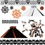 майяские картины белые иллюстрация вектора
