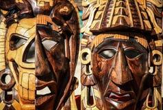 Майяские маски, смерть и второе рождение, Chichen Itza, Юкатан, Мексика Стоковое Изображение